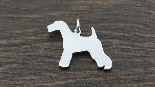 Welsh Terrier Charm silhouette solid sterling silver Handmade in the Uk